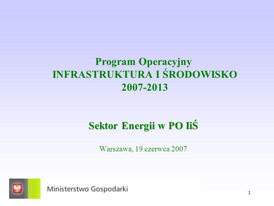 1 Sektor Energii w PO IiŚ Program Operacyjny INFRASTRUKTURA I ŚRODOWISKO 2007-2013 Sektor Energii w PO IiŚ Warszawa, 19 czerwca 2007