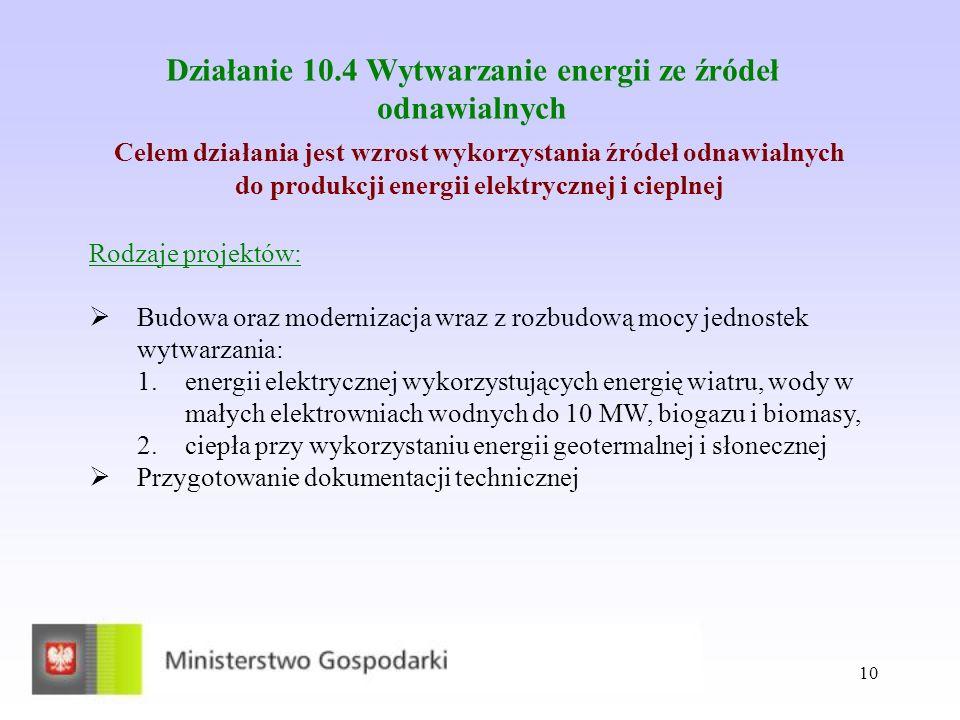 10 Działanie 10.4 Wytwarzanie energii ze źródeł odnawialnych Celem działania jest wzrost wykorzystania źródeł odnawialnych do produkcji energii elektrycznej i cieplnej Rodzaje projektów: Budowa oraz modernizacja wraz z rozbudową mocy jednostek wytwarzania: 1.energii elektrycznej wykorzystujących energię wiatru, wody w małych elektrowniach wodnych do 10 MW, biogazu i biomasy, 2.ciepła przy wykorzystaniu energii geotermalnej i słonecznej Przygotowanie dokumentacji technicznej