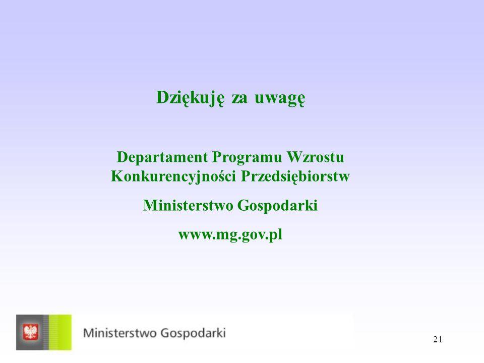 21 Dziękuję za uwagę Departament Programu Wzrostu Konkurencyjności Przedsiębiorstw Ministerstwo Gospodarki www.mg.gov.pl