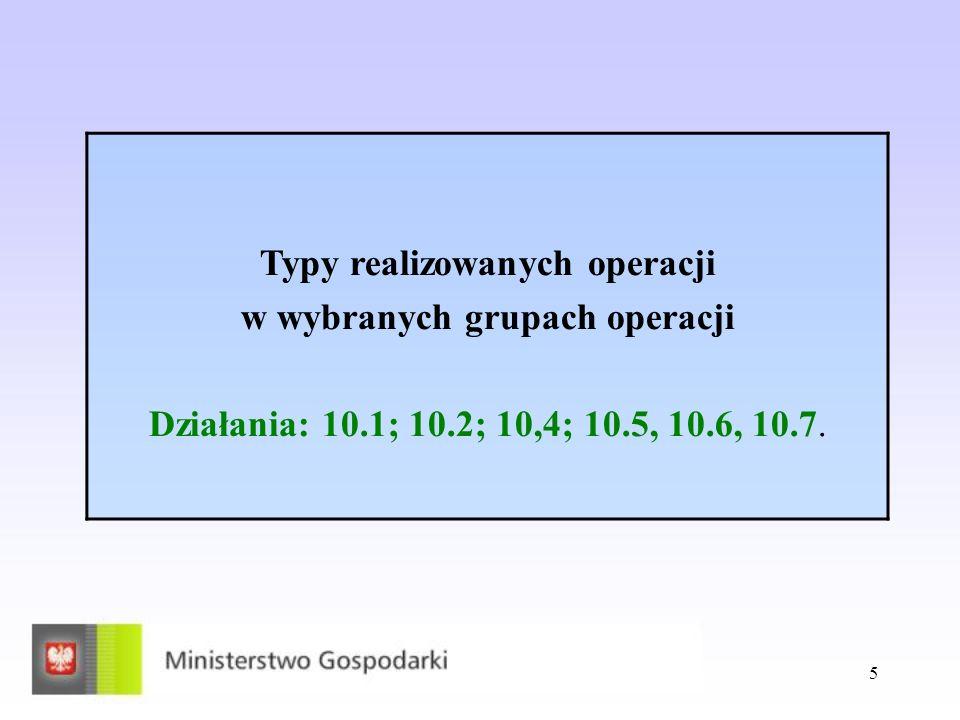 5 Typy realizowanych operacji w wybranych grupach operacji Działania: 10.1; 10.2; 10,4; 10.5, 10.6, 10.7.