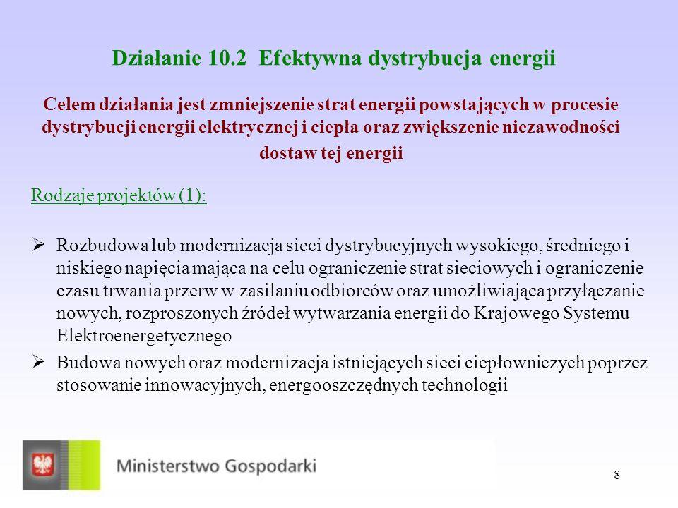 19 Oś priorytetowa XI: Bezpieczeństwo energetyczne Działanie 11.2 Wybór projektów w drodze konkursu W ramach działania będą realizowane projekty z zakresu budowy sieci dystrybucji gazu zimnego na terenach niezgazyfikowanych, przede wszystkim na terenach Polski północno-wschodniej.