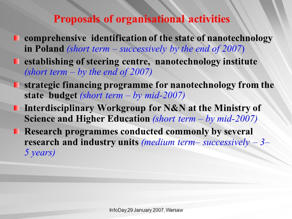 InfoDay,29 January 2007, Warsaw Proposals of organisational activities comprehensive identification of the state of nanotechnology in Poland (short te