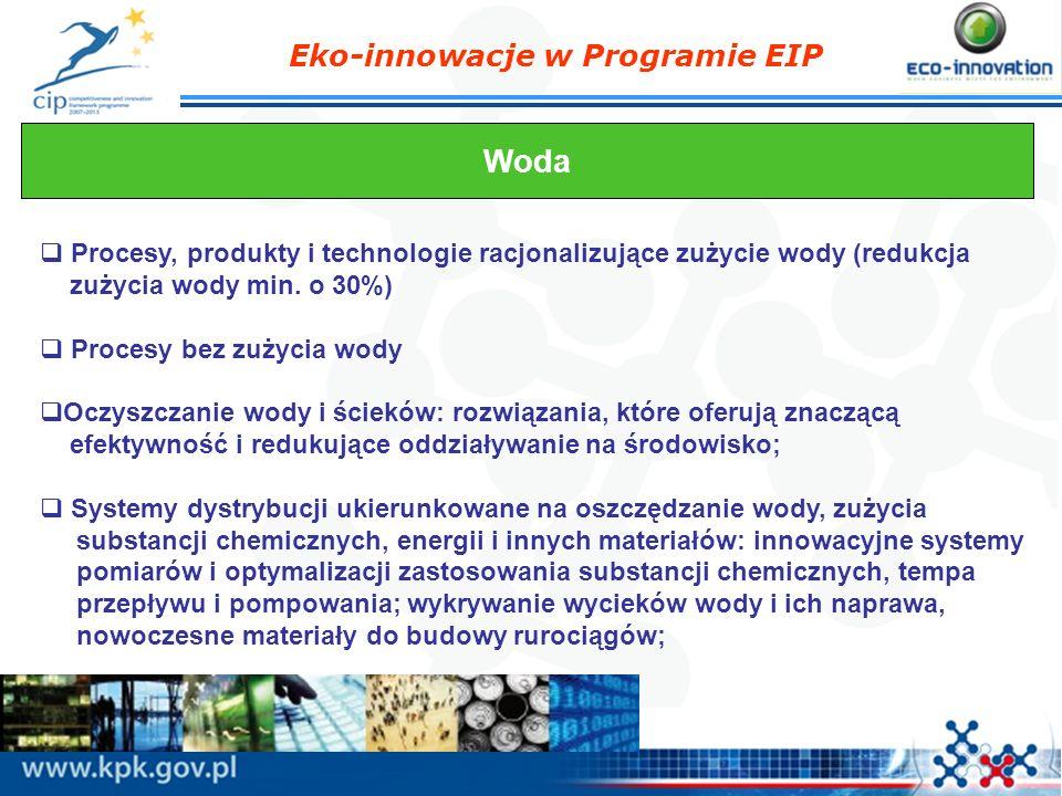 Eko-innowacje w Programie EIP Woda Procesy, produkty i technologie racjonalizujące zużycie wody (redukcja zużycia wody min. o 30%) Procesy bez zużycia