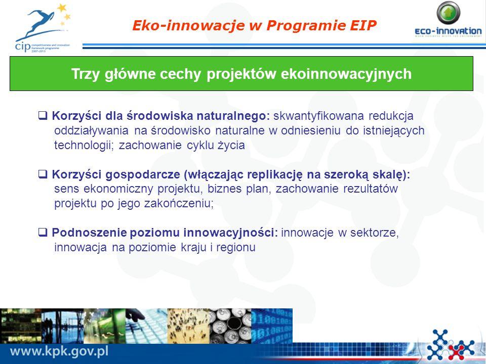Eko-innowacje w Programie EIP Trzy główne cechy projektów ekoinnowacyjnych Korzyści dla środowiska naturalnego: skwantyfikowana redukcja oddziaływania