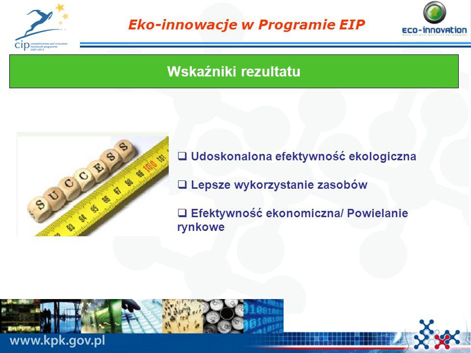 Eko-innowacje w Programie EIP Wskaźniki rezultatu Udoskonalona efektywność ekologiczna Lepsze wykorzystanie zasobów Efektywność ekonomiczna/ Powielani