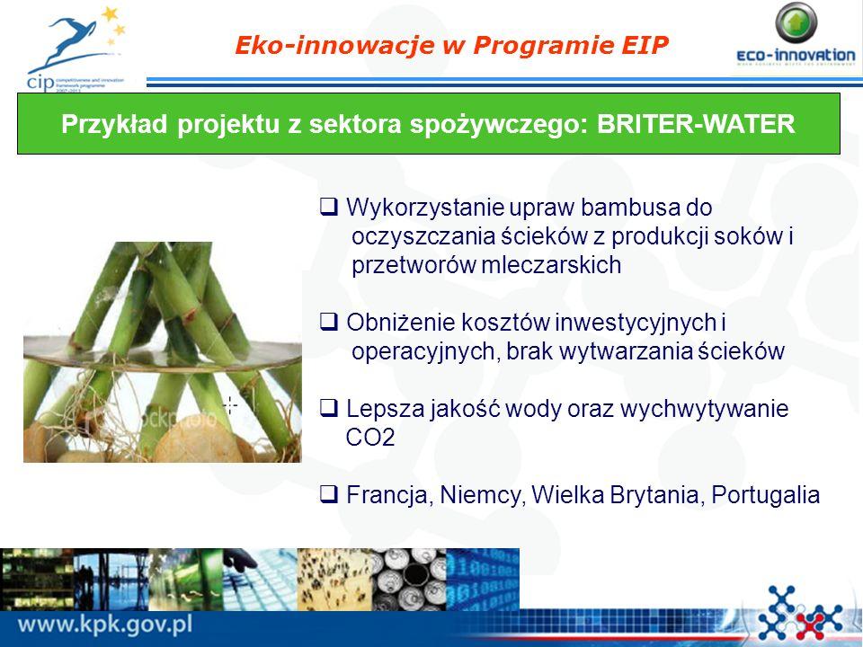 Eko-innowacje w Programie EIP Przykład projektu z sektora spożywczego: BRITER-WATER Wykorzystanie upraw bambusa do oczyszczania ścieków z produkcji so