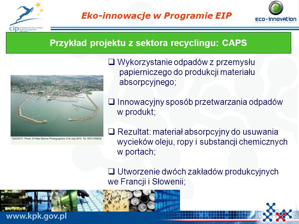 Eko-innowacje w Programie EIP Przykład projektu z sektora recyclingu: CAPS Wykorzystanie odpadów z przemysłu papierniczego do produkcji materiału abso