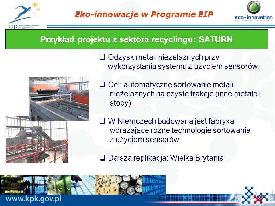 Eko-innowacje w Programie EIP Przykład projektu z sektora recyclingu: SATURN Odzysk metali nieżelaznych przy wykorzystaniu systemu z użyciem sensorów;