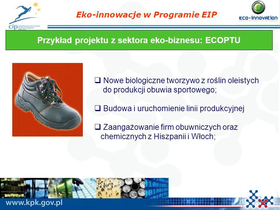 Eko-innowacje w Programie EIP Przykład projektu z sektora eko-biznesu: ECOPTU Nowe biologiczne tworzywo z roślin oleistych do produkcji obuwia sportow