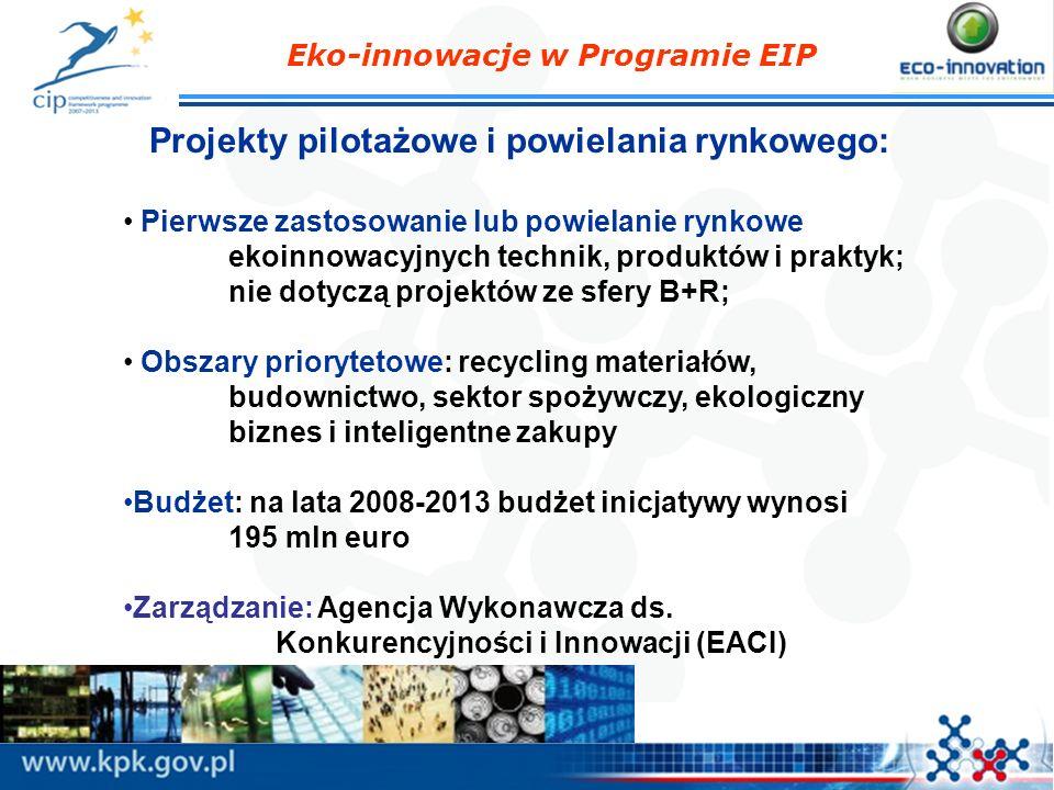 Projekty pilotażowe i powielania rynkowego: Pierwsze zastosowanie lub powielanie rynkowe ekoinnowacyjnych technik, produktów i praktyk; nie dotyczą projektów ze sfery B+R; Obszary priorytetowe: recycling materiałów, budownictwo, sektor spożywczy, ekologiczny biznes i inteligentne zakupy Budżet: na lata 2008-2013 budżet inicjatywy wynosi 195 mln euro Zarządzanie: Agencja Wykonawcza ds.