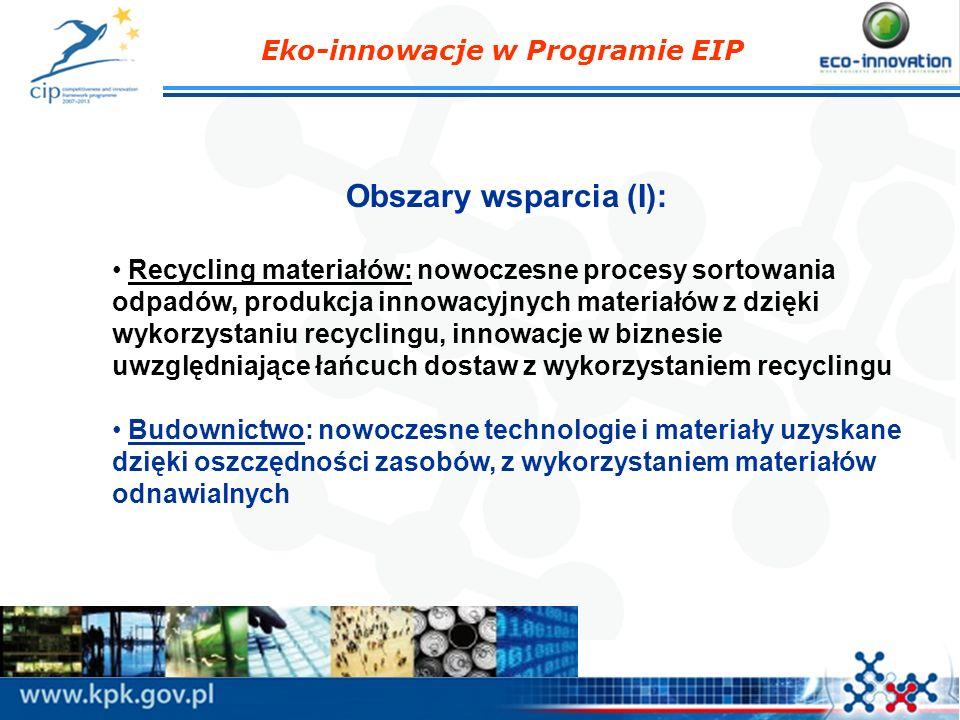 Obszary wsparcia (I): Recycling materiałów: nowoczesne procesy sortowania odpadów, produkcja innowacyjnych materiałów z dzięki wykorzystaniu recyclingu, innowacje w biznesie uwzględniające łańcuch dostaw z wykorzystaniem recyclingu Budownictwo: nowoczesne technologie i materiały uzyskane dzięki oszczędności zasobów, z wykorzystaniem materiałów odnawialnych Eko-innowacje w Programie EIP