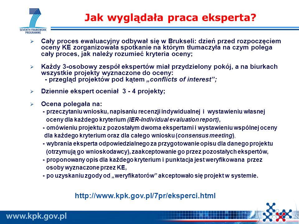 Cały proces ewaluacyjny odbywał się w Brukseli: dzień przed rozpoczęciem oceny KE zorganizowała spotkanie na którym tłumaczyła na czym polega cały proces, jak należy rozumieć kryteria oceny; Każdy 3-osobowy zespół ekspertów miał przydzielony pokój, a na biurkach wszystkie projekty wyznaczone do oceny: - przegląd projektów pod kątem conflicts of interest; Dziennie ekspert oceniał 3 - 4 projekty; Ocena polegała na: - przeczytaniu wniosku, napisaniu recenzji indywidualnej i wystawieniu własnej oceny dla każdego kryterium (IER-Individual evaluation report), - omówieniu projektu z pozostałym dwoma ekspertami i wystawieniu wspólnej oceny dla każdego kryterium oraz dla całego wniosku (consensus meeting), - wybrania eksperta odpowiedzialnego za przygotowanie opisu dla danego projektu (otrzymują go wnioskodawcy), zaakceptowanie go przez pozostałych ekspertów, - proponowany opis dla każdego kryterium i punktacja jest weryfikowana przez osoby wyznaczone przez KE, - po uzyskaniu zgody od weryfikatorów akceptowało się projekt w systemie.