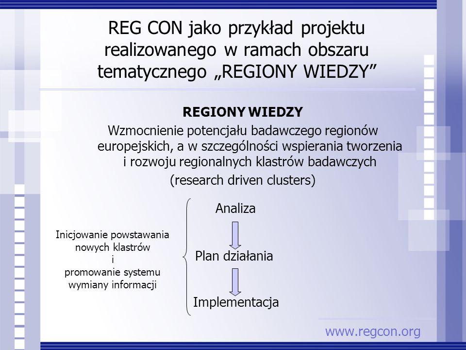 REGIONY WIEDZY Wzmocnienie potencjału badawczego regionów europejskich, a w szczególności wspierania tworzenia i rozwoju regionalnych klastrów badawcz
