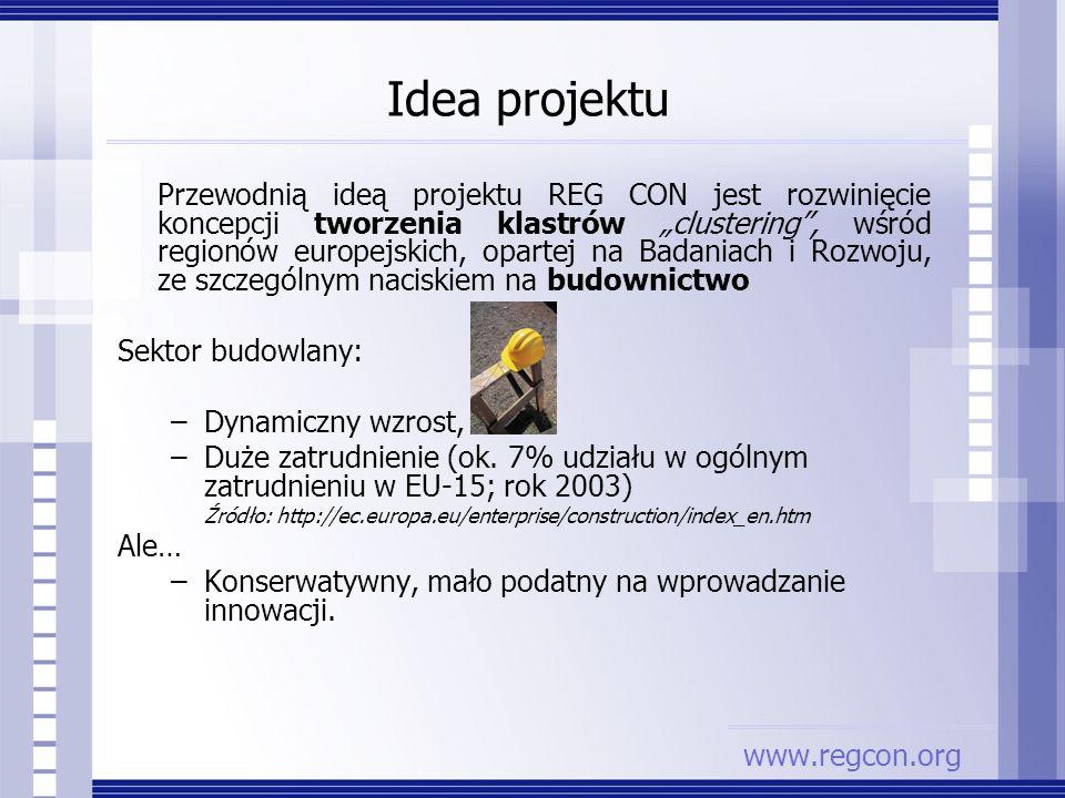 Idea projektu Przewodnią ideą projektu REG CON jest rozwinięcie koncepcji tworzenia klastrów clustering, wśród regionów europejskich, opartej na Badan