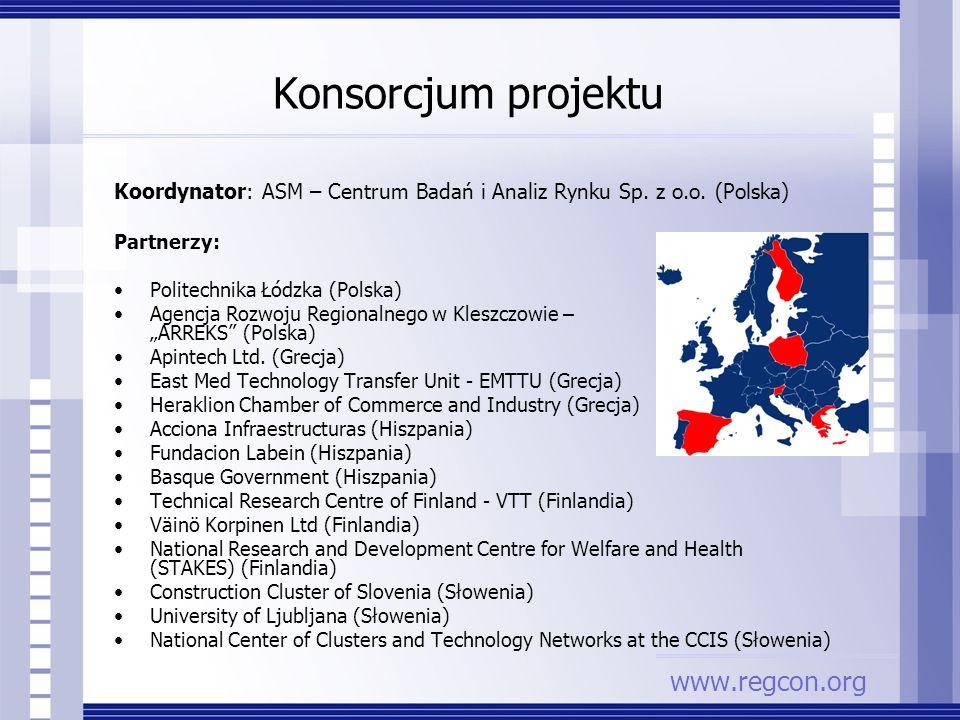 Konsorcjum projektu Koordynator: ASM – Centrum Badań i Analiz Rynku Sp. z o.o. (Polska) Partnerzy: Politechnika Łódzka (Polska) Agencja Rozwoju Region