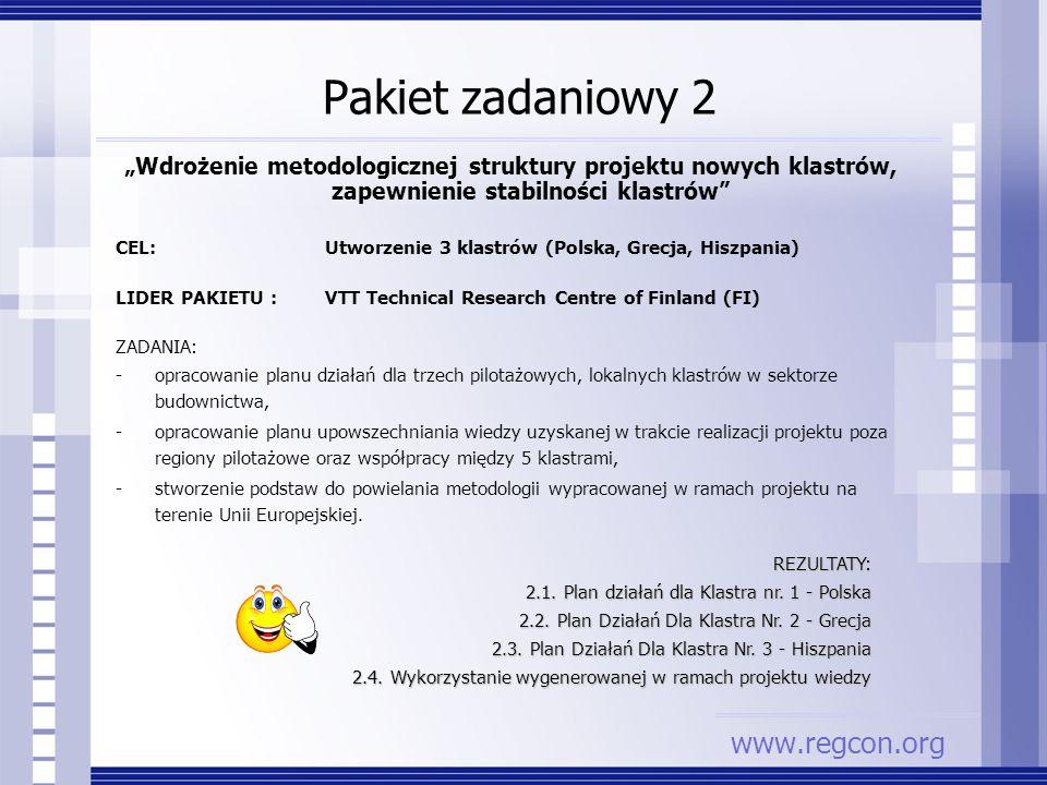 Pakiet zadaniowy 2 Wdrożenie metodologicznej struktury projektu nowych klastrów, zapewnienie stabilności klastrów CEL: Utworzenie 3 klastrów (Polska,
