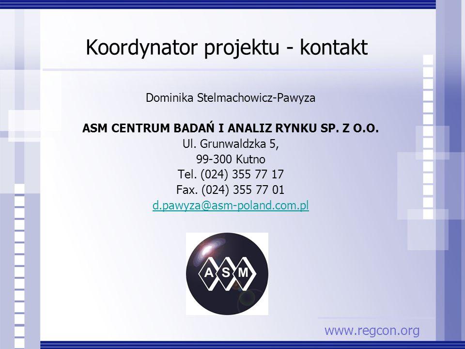 Dominika Stelmachowicz-Pawyza ASM CENTRUM BADAŃ I ANALIZ RYNKU SP. Z O.O. Ul. Grunwaldzka 5, 99-300 Kutno Tel. (024) 355 77 17 Fax. (024) 355 77 01 d.