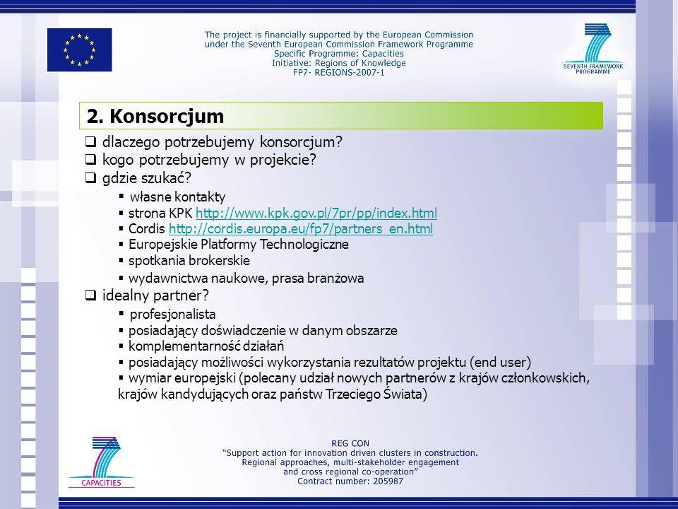 dlaczego potrzebujemy konsorcjum? kogo potrzebujemy w projekcie? gdzie szukać? własne kontakty strona KPK http://www.kpk.gov.pl/7pr/pp/index.htmlhttp: