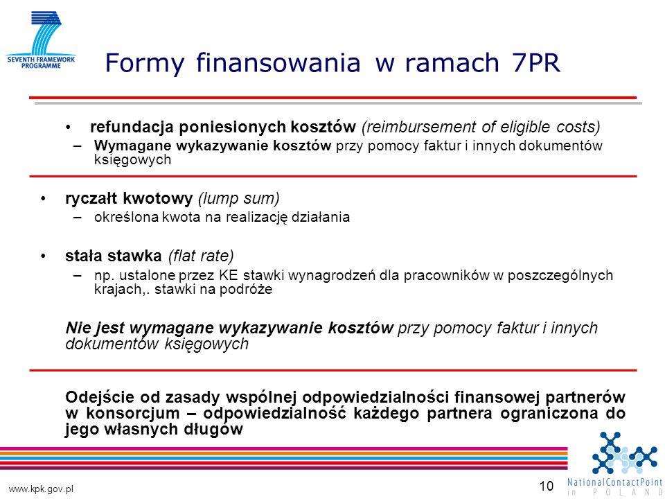 www.kpk.gov.pl 10 Formy finansowania w ramach 7PR refundacja poniesionych kosztów (reimbursement of eligible costs) –Wymagane wykazywanie kosztów przy pomocy faktur i innych dokumentów księgowych ryczałt kwotowy (lump sum) –określona kwota na realizację działania stała stawka (flat rate) –np.