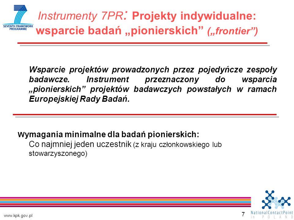 www.kpk.gov.pl 7 Wsparcie projektów prowadzonych przez pojedyńcze zespoły badawcze.