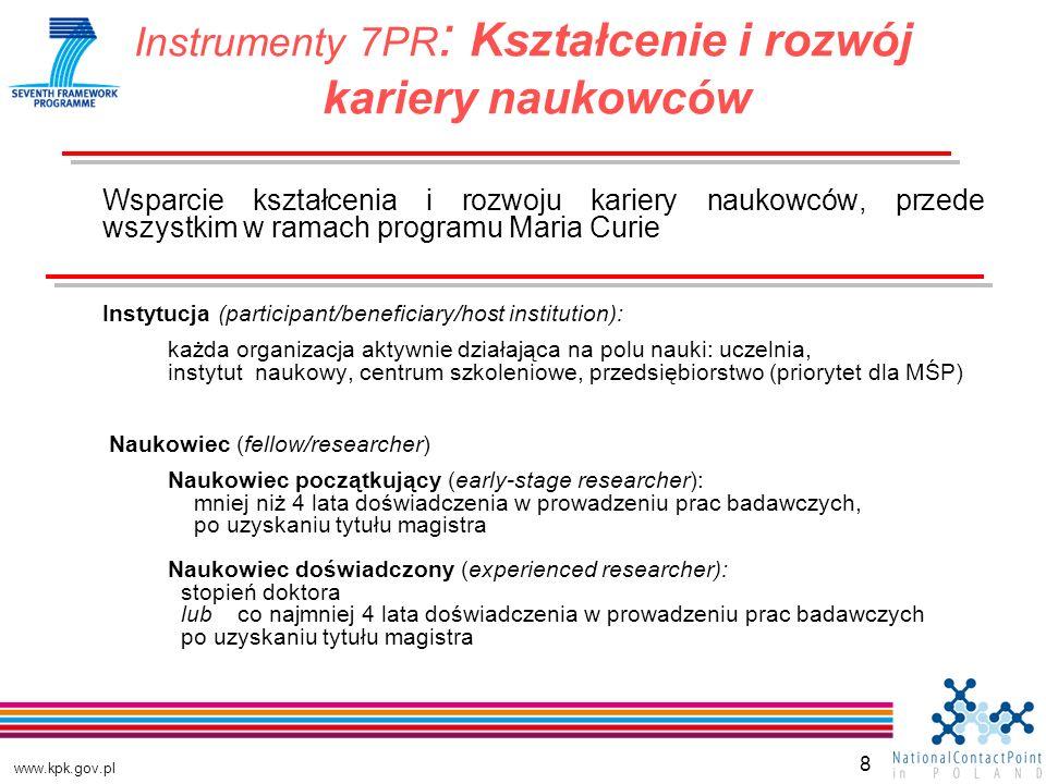 www.kpk.gov.pl 8 Wsparcie kształcenia i rozwoju kariery naukowców, przede wszystkim w ramach programu Maria Curie Instytucja (participant/beneficiary/host institution): każda organizacja aktywnie działająca na polu nauki: uczelnia, instytut naukowy, centrum szkoleniowe, przedsiębiorstwo (priorytet dla MŚP) Naukowiec (fellow/researcher) Naukowiec początkujący (early-stage researcher): mniej niż 4 lata doświadczenia w prowadzeniu prac badawczych, po uzyskaniu tytułu magistra Naukowiec doświadczony (experienced researcher): stopień doktora lub co najmniej 4 lata doświadczenia w prowadzeniu prac badawczych po uzyskaniu tytułu magistra Instrumenty 7PR : Kształcenie i rozwój kariery naukowców