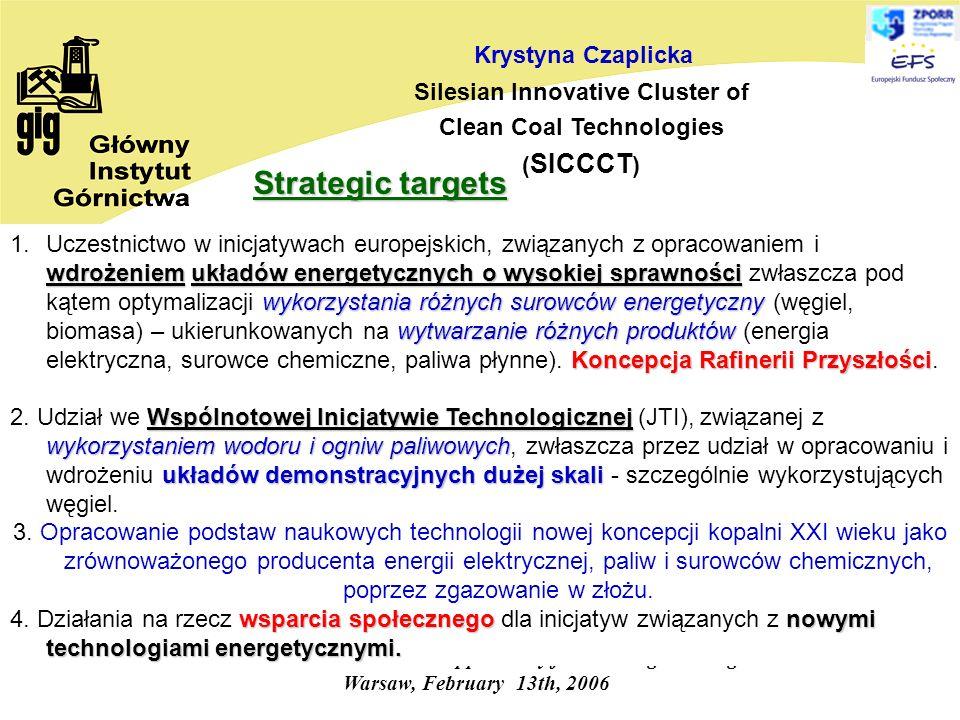 Research and Innovation - an opportunity for Convergence Regions Warsaw, February 13th, 2006 Krystyna Czaplicka Silesian Innovative Cluster of Clean Coal Technologies ( SICCCT ) wdrożeniemukładów energetycznych o wysokiej sprawności wykorzystania różnych surowców energetyczny wytwarzanie różnych produktów Koncepcja Rafinerii Przyszłości 1.Uczestnictwo w inicjatywach europejskich, związanych z opracowaniem i wdrożeniem układów energetycznych o wysokiej sprawności zwłaszcza pod kątem optymalizacji wykorzystania różnych surowców energetyczny (węgiel, biomasa) – ukierunkowanych na wytwarzanie różnych produktów (energia elektryczna, surowce chemiczne, paliwa płynne).