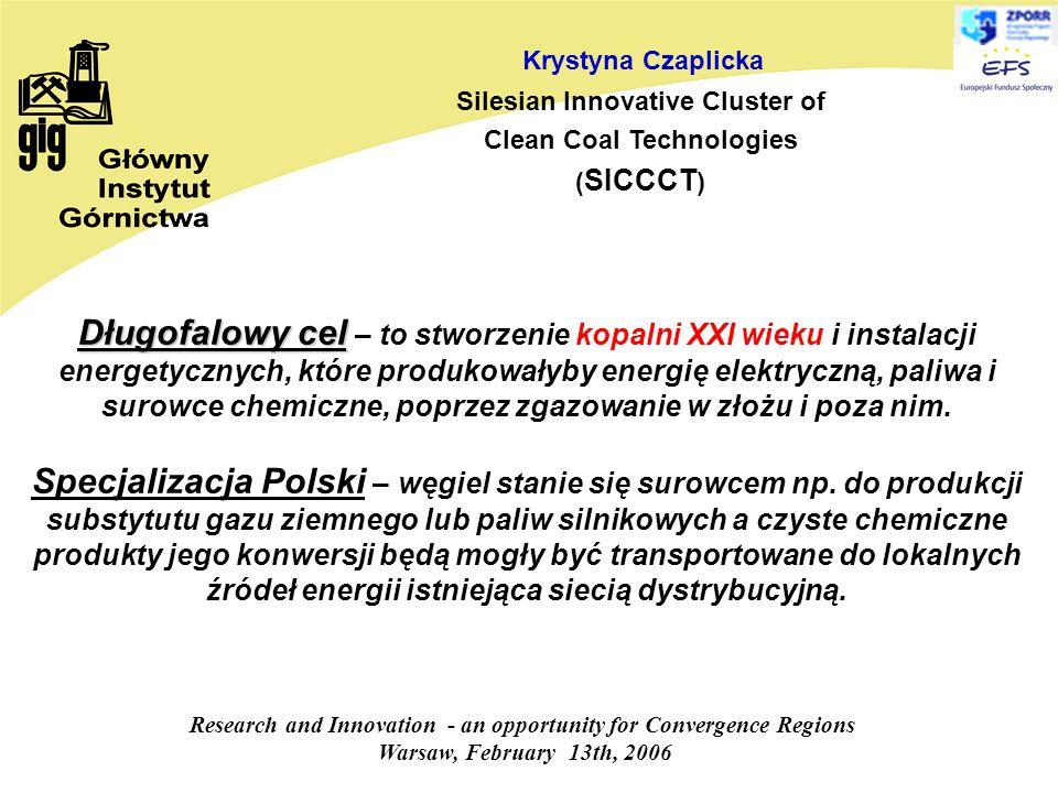 Research and Innovation - an opportunity for Convergence Regions Warsaw, February 13th, 2006 Krystyna Czaplicka Silesian Innovative Cluster of Clean Coal Technologies ( SICCCT ) Długofalowy cel Długofalowy cel – to stworzenie kopalni XXI wieku i instalacji energetycznych, które produkowałyby energię elektryczną, paliwa i surowce chemiczne, poprzez zgazowanie w złożu i poza nim.