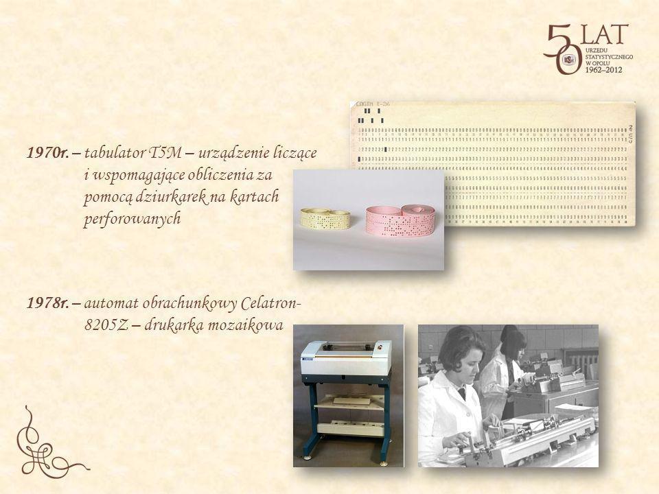 1970r. – tabulator T5M – urządzenie liczące i wspomagające obliczenia za pomocą dziurkarek na kartach perforowanych 1978r. – automat obrachunkowy Cela