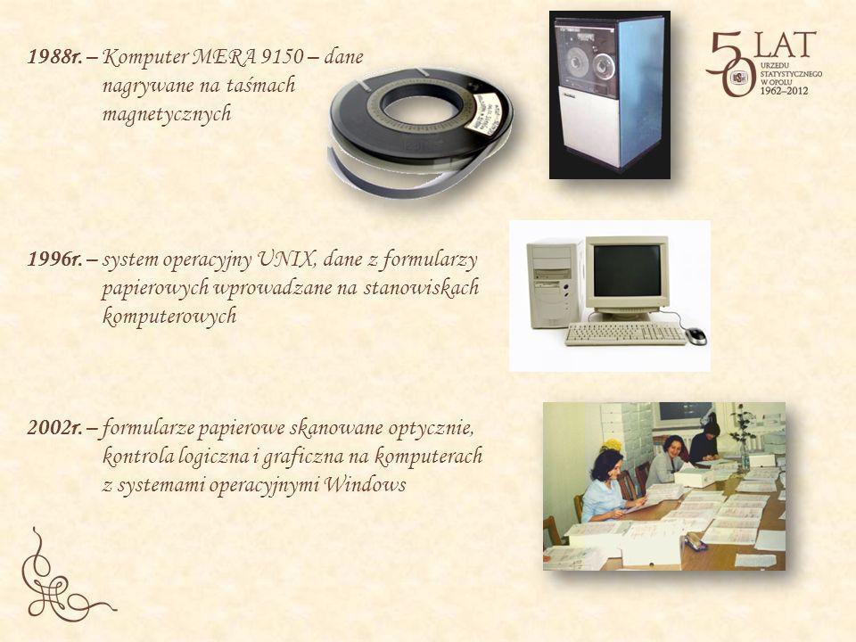 1988r. – Komputer MERA 9150 – dane nagrywane na taśmach magnetycznych 1996r. – system operacyjny UNIX, dane z formularzy papierowych wprowadzane na st