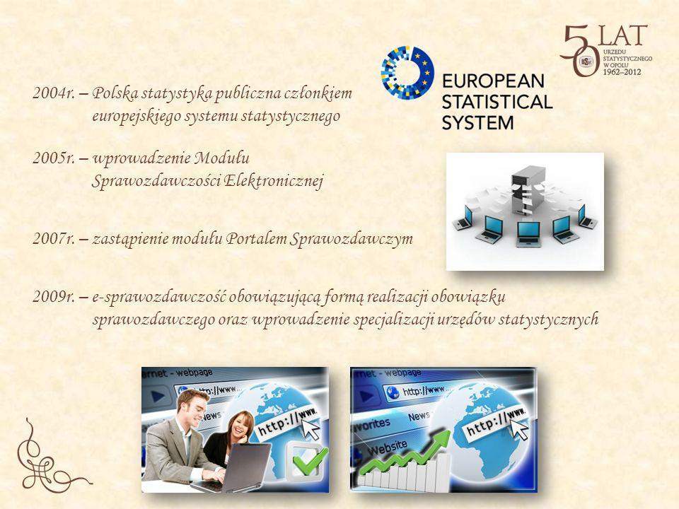 2004r. – Polska statystyka publiczna członkiem europejskiego systemu statystycznego 2005r. – wprowadzenie Modułu Sprawozdawczości Elektronicznej 2007r