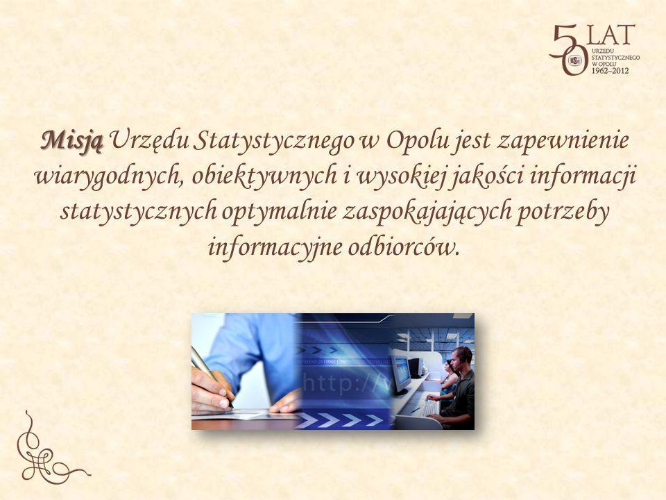 Misją Misją Urzędu Statystycznego w Opolu jest zapewnienie wiarygodnych, obiektywnych i wysokiej jakości informacji statystycznych optymalnie zaspokaj