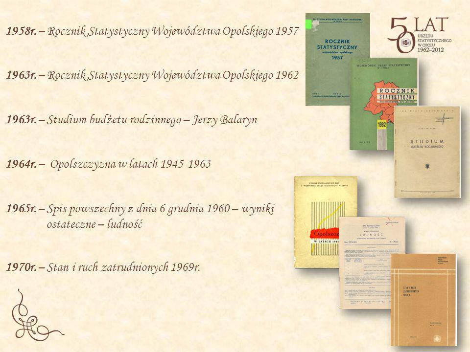 1958r. – Rocznik Statystyczny Województwa Opolskiego 1957 1965r. – Spis powszechny z dnia 6 grudnia 1960 – wyniki ostateczne – ludność 1963r. – Roczni