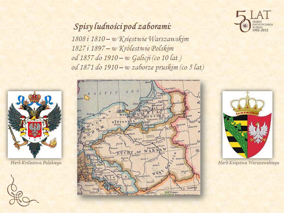 Spisy ludności pod zaborami: 1808 i 1810 – w Księstwie Warszawskim 1827 i 1897 – w Królestwie Polskim od 1857 do 1910 – w Galicji (co 10 lat ) od 1871
