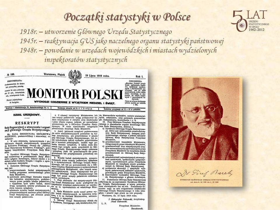1918r. – utworzenie Głównego Urzędu Statystycznego 1945r. – reaktywacja GUS jako naczelnego organu statystyki państwowej 1948r. – powołanie w urzędach