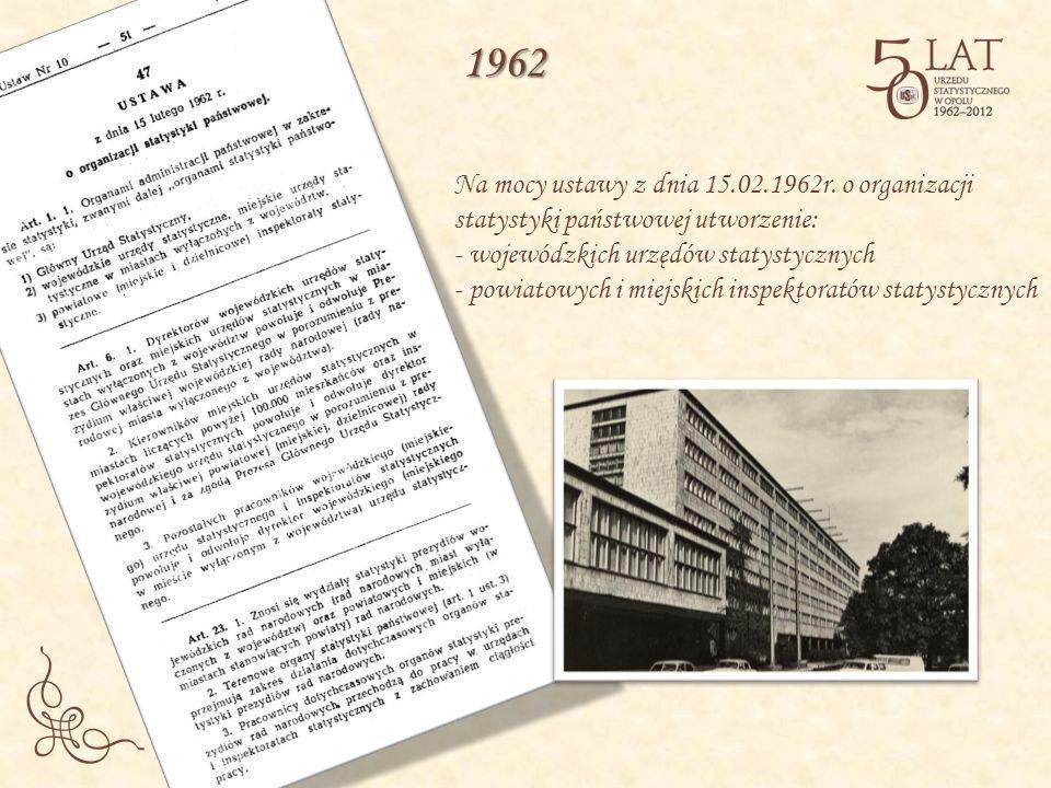 Na mocy ustawy z dnia 15.02.1962r. o organizacji statystyki państwowej utworzenie: - wojewódzkich urzędów statystycznych - powiatowych i miejskich ins