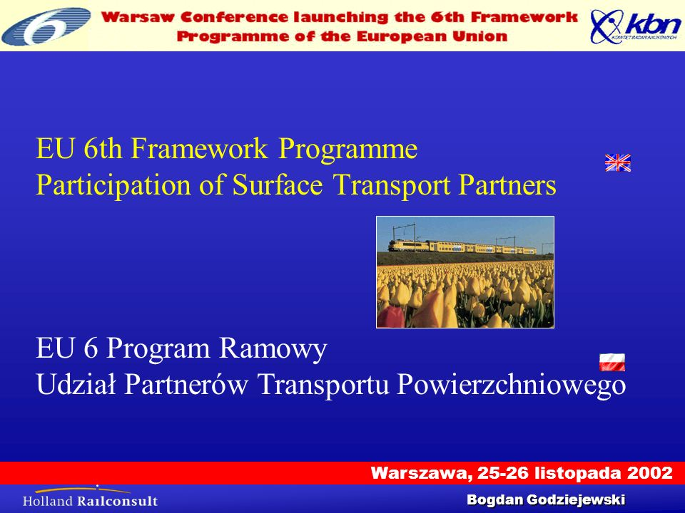 Warszawa, 25-26 listopada 2002 Workshop 25/9/2002 1 EU 6th Framework Programme Participation of Surface Transport Partners Bogdan Godziejewski EU 6 Pr