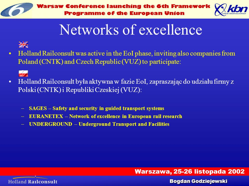 Warszawa, 25-26 listopada 2002 Workshop 25/9/2002 10 Networks of excellence Holland Railconsult was active in the EoI phase, inviting also companies f