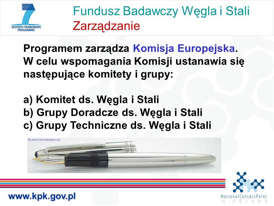 Fundusz Badawczy Węgla i Stali Zarządzanie Programem zarządza Komisja Europejska. W celu wspomagania Komisji ustanawia się następujące komitety i grup