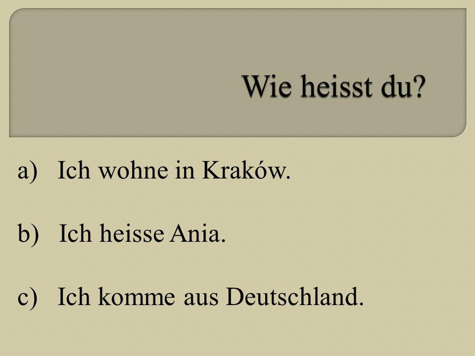 a) Ich wohne in Kraków. b) Ich heisse Ania. c) Ich komme aus Deutschland.