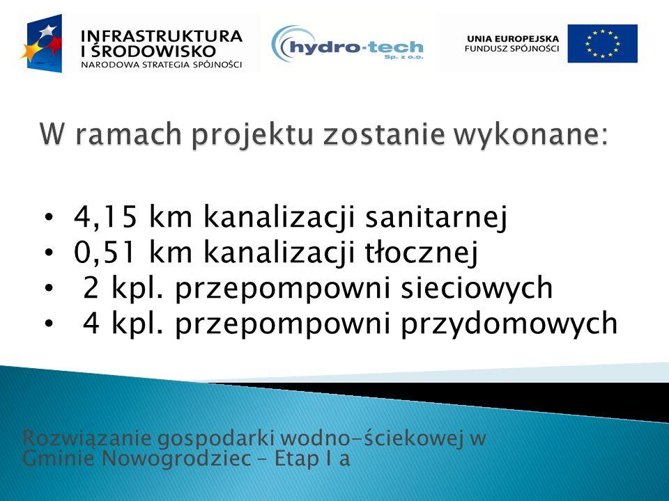 Rozwiązanie gospodarki wodno-ściekowej w Gminie Nowogrodziec – Etap I a 4,15 km kanalizacji sanitarnej 0,51 km kanalizacji tłocznej 2 kpl.