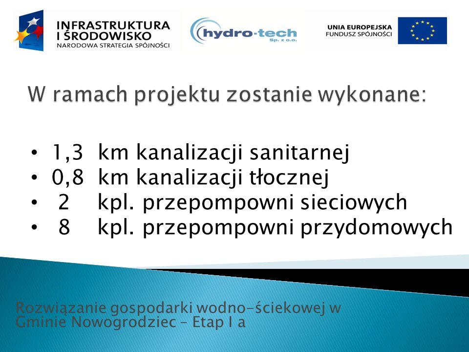 Rozwiązanie gospodarki wodno-ściekowej w Gminie Nowogrodziec – Etap I a 1,3 km kanalizacji sanitarnej 0,8 km kanalizacji tłocznej 2 kpl.