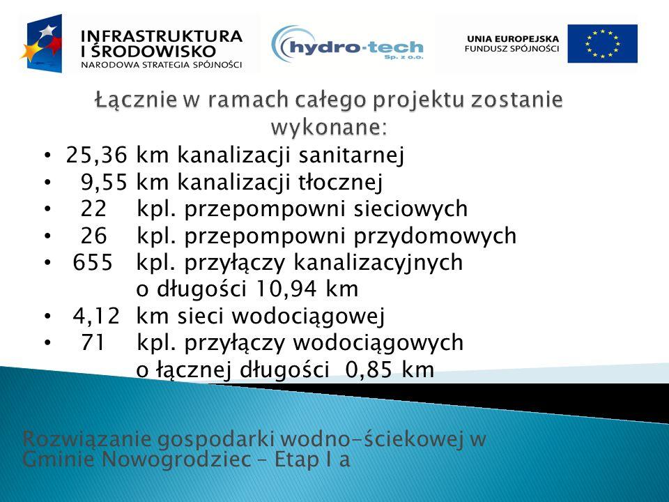Rozwiązanie gospodarki wodno-ściekowej w Gminie Nowogrodziec – Etap I a 25,36 km kanalizacji sanitarnej 9,55 km kanalizacji tłocznej 22 kpl.