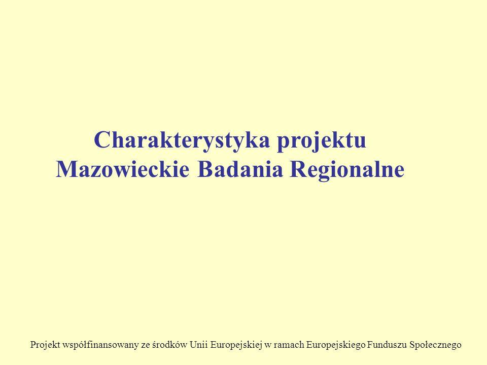Projekt współfinansowany ze środków Unii Europejskiej w ramach Europejskiego Funduszu Społecznego Charakterystyka projektu Mazowieckie Badania Regionalne