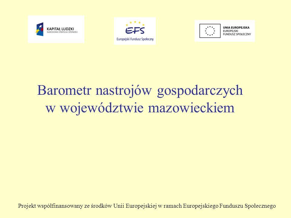 Projekt współfinansowany ze środków Unii Europejskiej w ramach Europejskiego Funduszu Społecznego Barometr nastrojów gospodarczych w województwie mazowieckiem