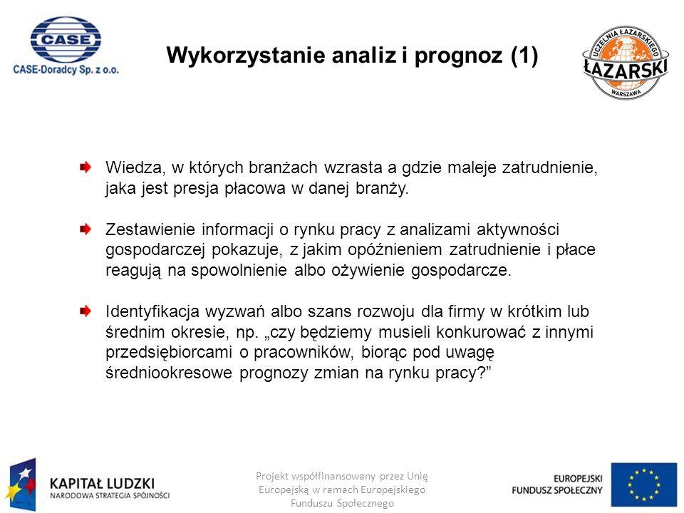 Wykorzystanie analiz i prognoz (2) Projekt współfinansowany przez Unię Europejską w ramach Europejskiego Funduszu Społecznego Analizy powiatowe (dotyczące głównie bezrobocia i popytu na pracę), w tym Warszawy, dają możliwość podejmowania wspartych wiedzą decyzji o miejscu nowej działalności.