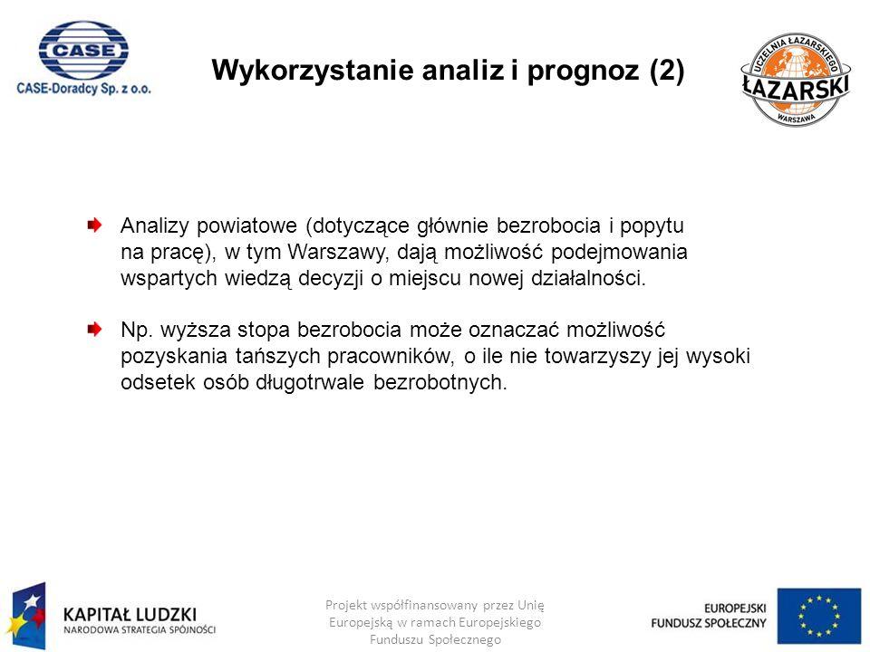 Wykorzystanie analiz i prognoz (2) Projekt współfinansowany przez Unię Europejską w ramach Europejskiego Funduszu Społecznego Analizy powiatowe (dotyc