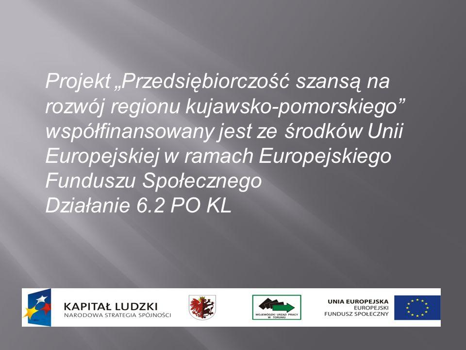 Projekt Przedsiębiorczość szansą na rozwój regionu kujawsko-pomorskiego współfinansowany jest ze środków Unii Europejskiej w ramach Europejskiego Fund