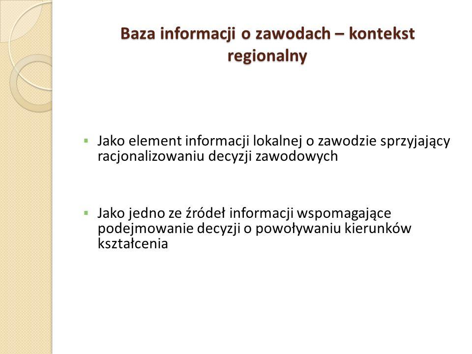 Baza informacji o zawodach – kontekst regionalny Jako element informacji lokalnej o zawodzie sprzyjający racjonalizowaniu decyzji zawodowych Jako jedn