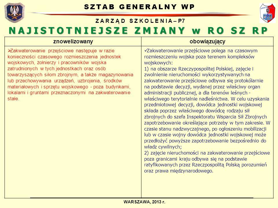 SZTAB GENERALNY WP Z A R Z Ą D S Z K O L E N I A – P7 WARSZAWA, 2013 r. NAJISTOTNIEJSZE ZMIANY w RO SZ RP znowelizowanyobowiązujący Zakwaterowanie prz