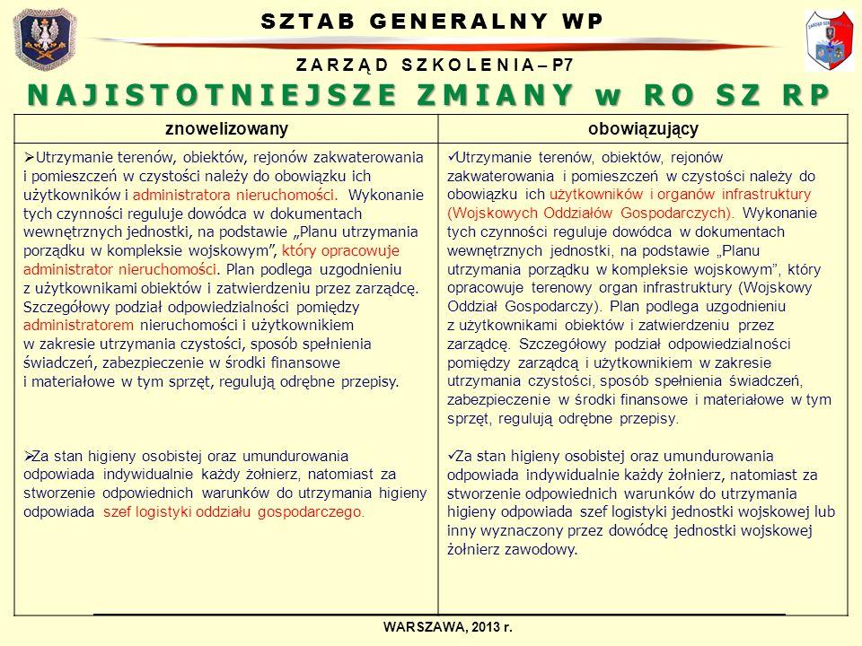 SZTAB GENERALNY WP Z A R Z Ą D S Z K O L E N I A – P7 WARSZAWA, 2013 r. NAJISTOTNIEJSZE ZMIANY w RO SZ RP znowelizowanyobowiązujący Utrzymanie terenów